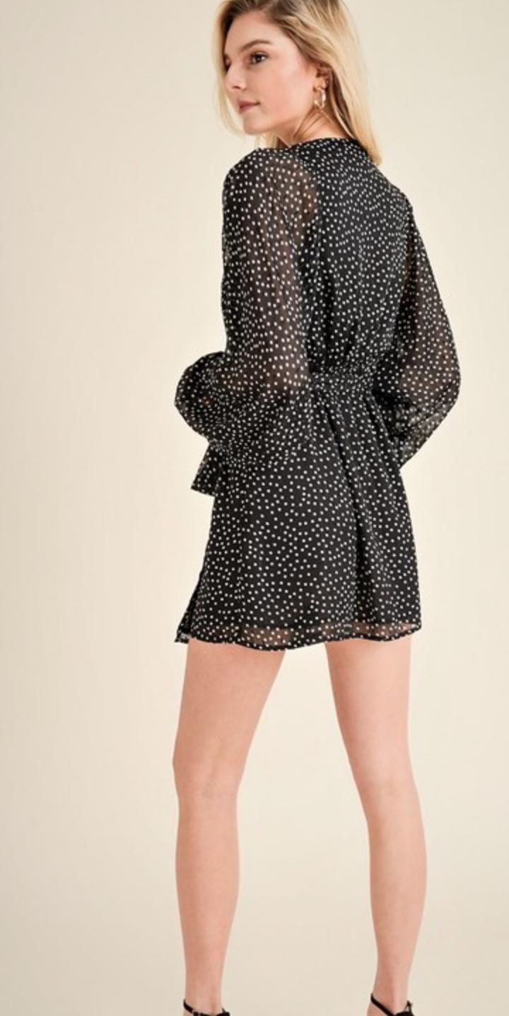 fb2fc5c20c Polka dot print sheer sleeve wrap dress - Boho Lifestyle