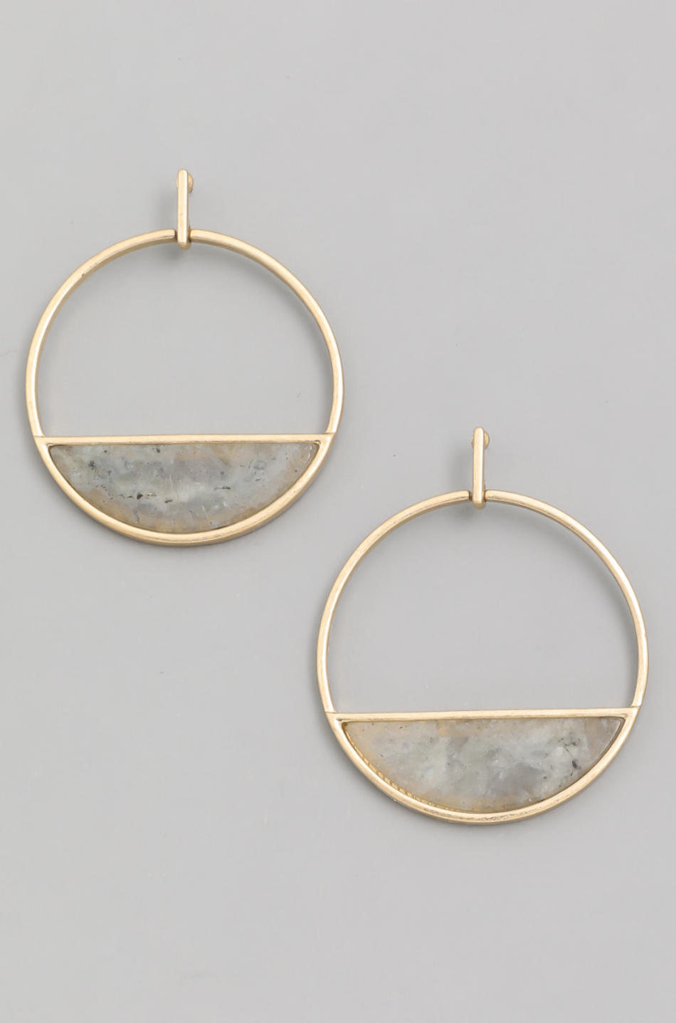 Semi Circle Stone Hoop Drop Earrings