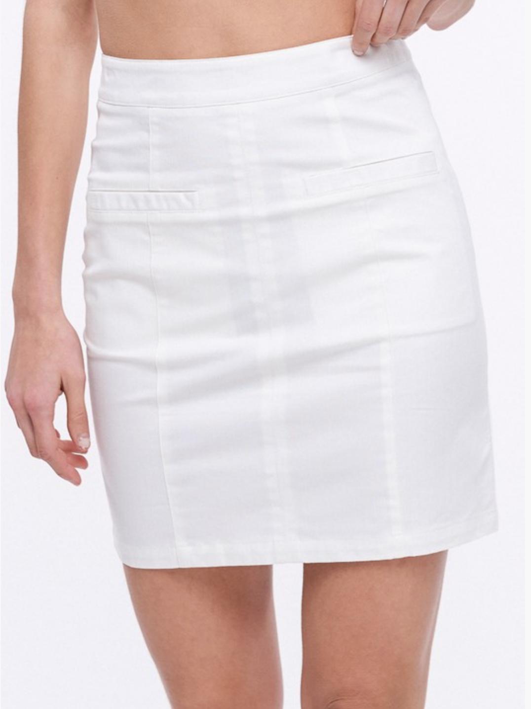 Linen Textured Welt Pocket Skirt