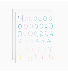 Frankie & Claude Hooray! Holographic Card - Soft Gray