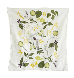June & December Cocktail Herbs Kitchen Towel