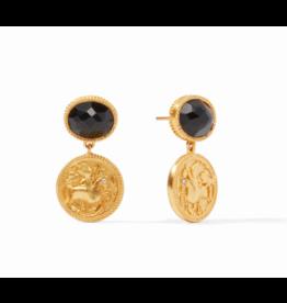 Julie Vos Coin Midi Earring in Obsidian Black by Julie Vos