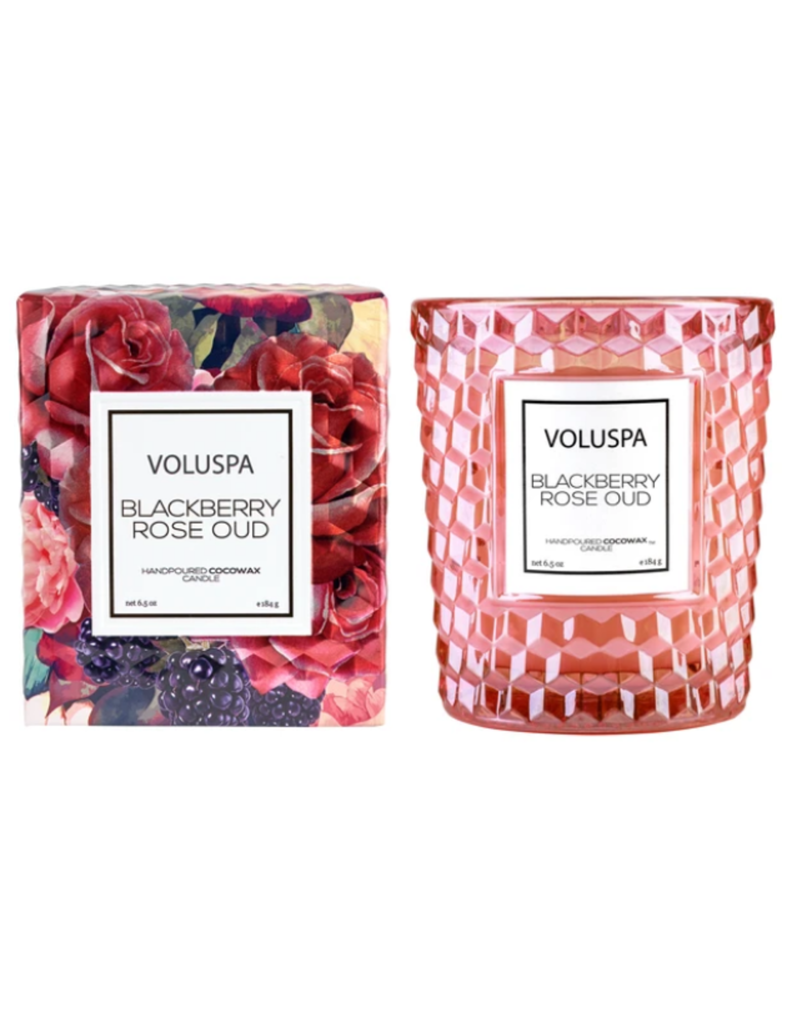 Voluspa Blackberry Rose Oud Classic Candle in Textured Glass