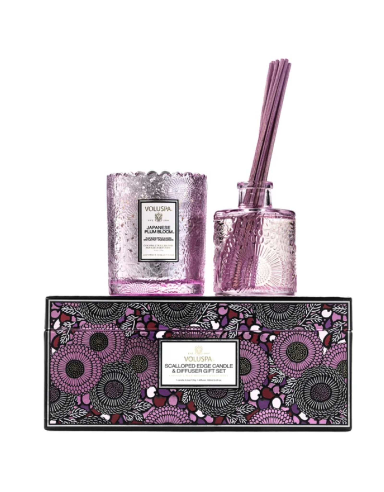 Voluspa Japanese Plum Bloom Scalloped Edge Candle and Diffuser Gift Set