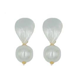 Hazen & Co Lively Earring in White Pearl by Hazen & Co