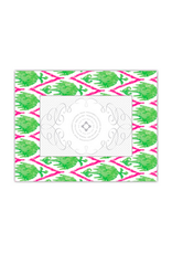 """RoseanneBECK Collection Watercolor Ikat Lime/Hot Pink Frame 4"""" x 6"""""""