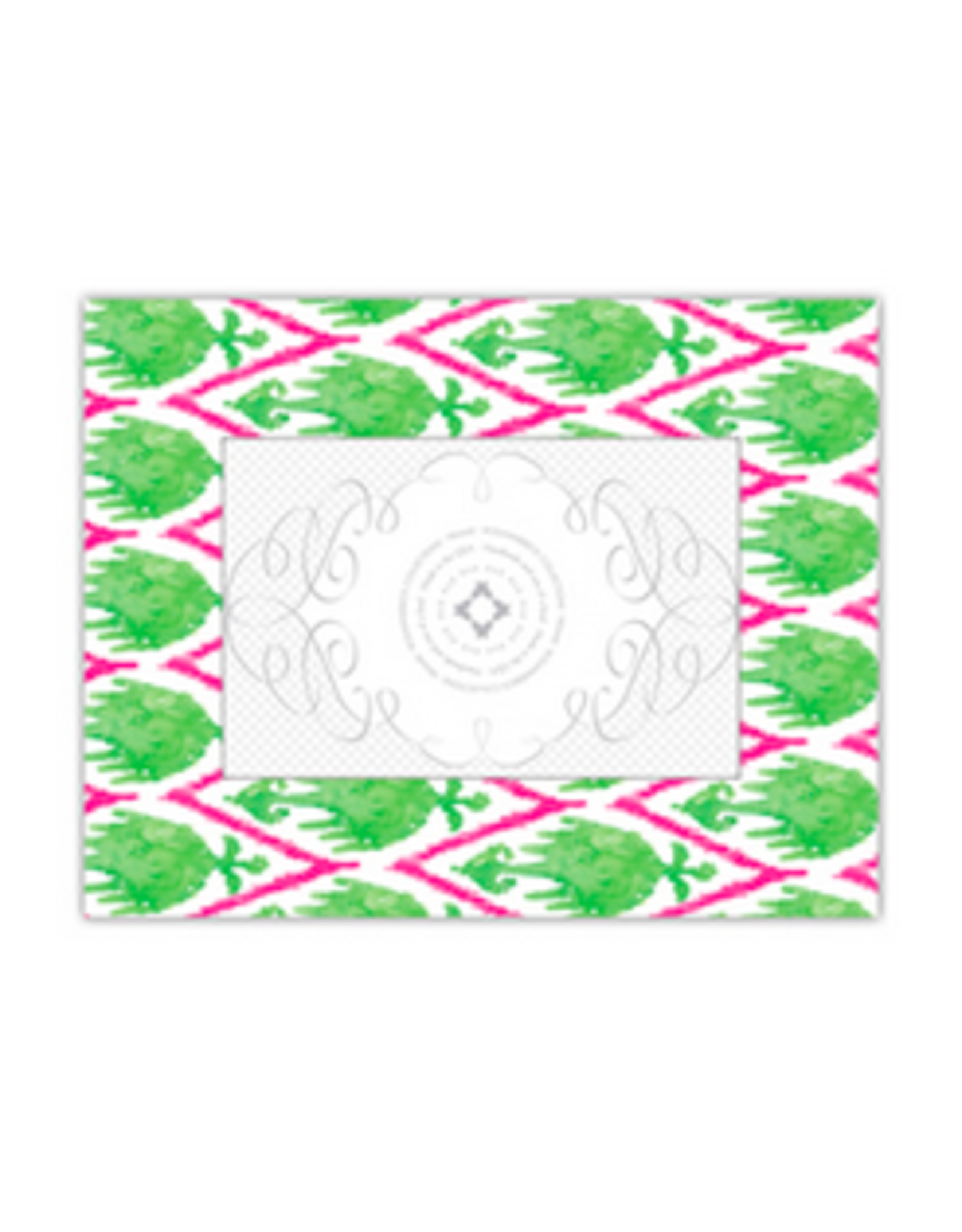 """Watercolor Ikat Lime/Hot Pink Frame 4"""" x 6"""""""