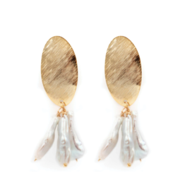 Hazen & Co Darby Earring in White Stick Pearl by Hazen & Co