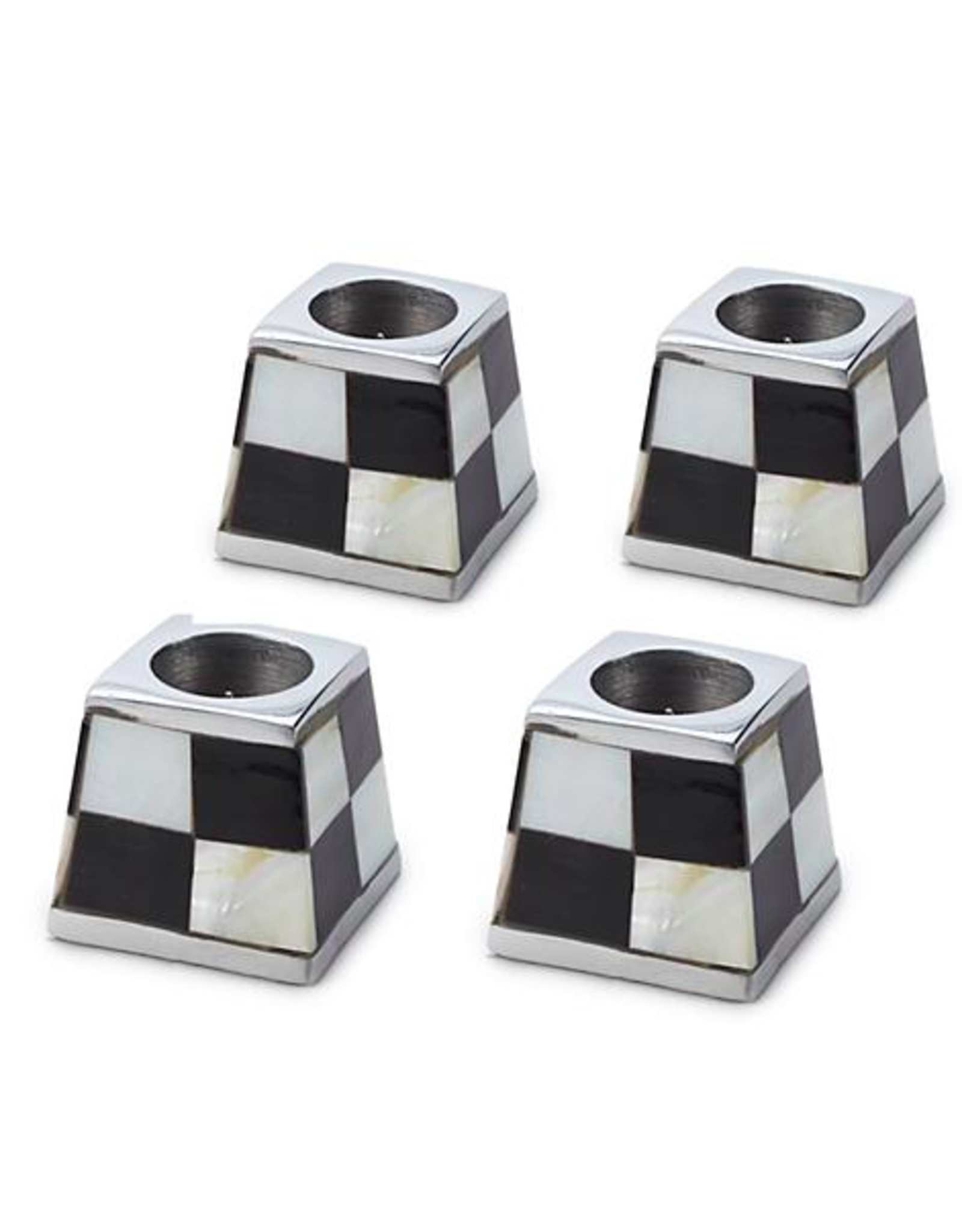 MacKenzie Childs Pyramid Candle Holders in White by MacKenzie-Childs