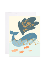 9th Letterpress Whale Baby Shower Card
