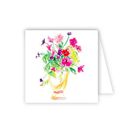 Handpainted Floral Glass Vase Enclosure Card