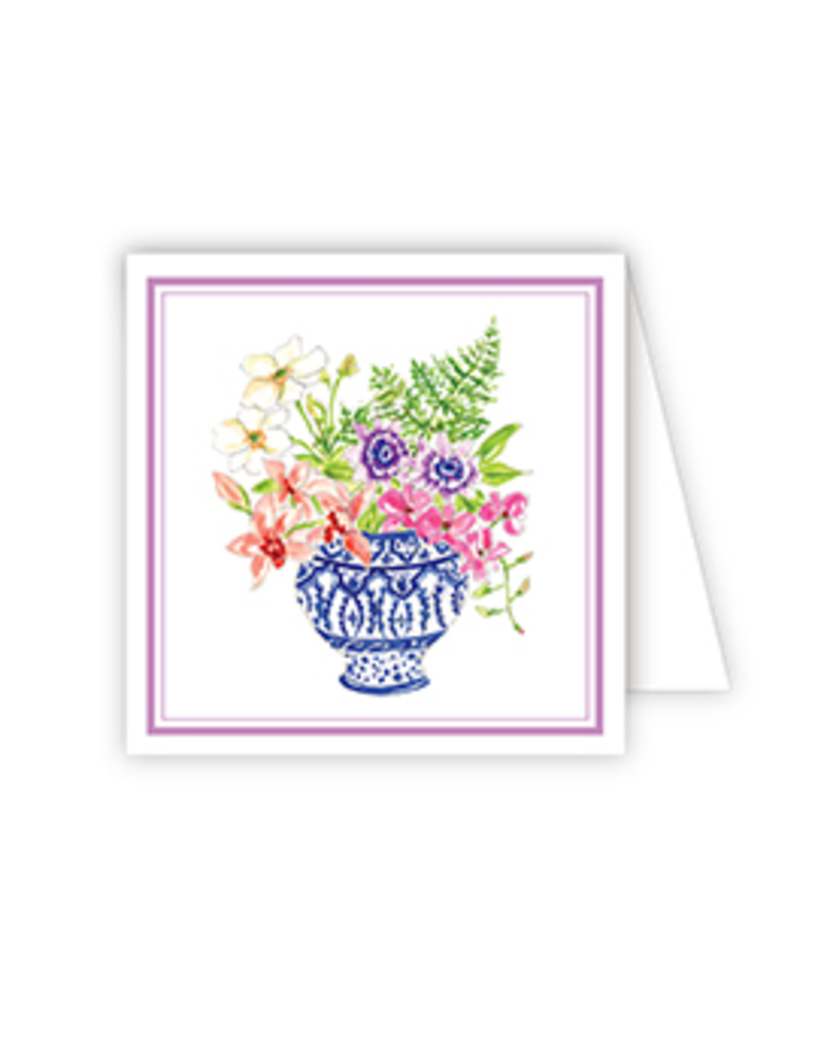 Floral Arrangement Blue White Pedestal Enclosure Card