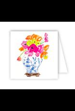 Handpainted Floral Blue White Enclosure Card