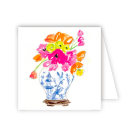 Handpainted Floral Blue White Enclosure Card