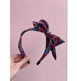Big Bow Headband in Blue Floral