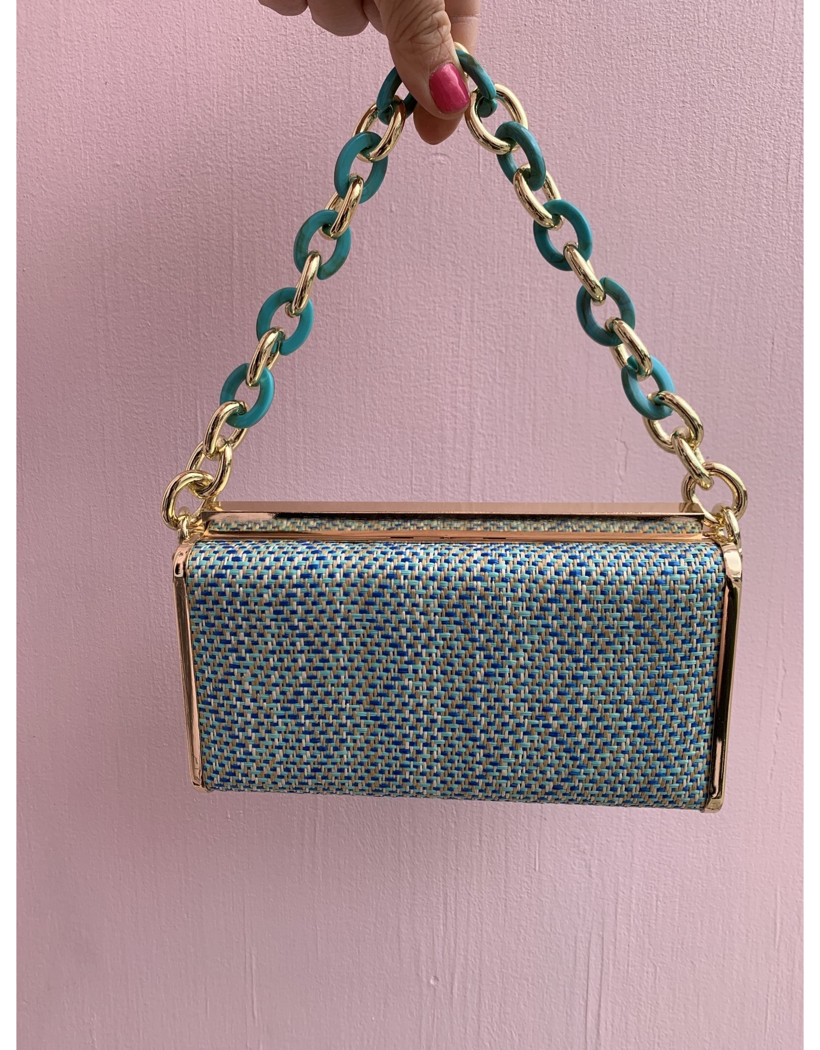 Raffia Clutch with Resin Link Handle-Blue