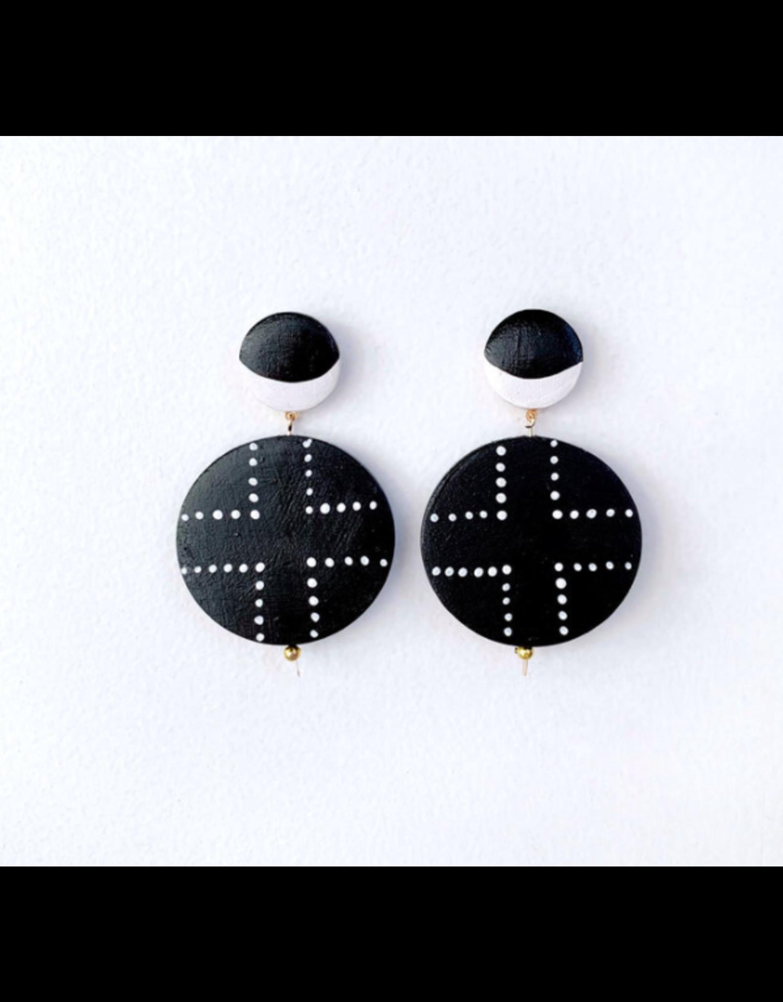 Elizabeth Crane Swartz Black and White Half Moon Cross Earring by Elizabeth Crane Swartz