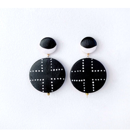 Elizabeth Crane Swartz Black and White Half Moon Cross Earring by Elizabeth Crane Swartz