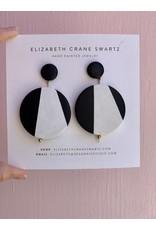 Elizabeth Crane Swartz Black and White Circle Drop Earring by Elizabeth Crane Swartz