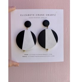 Elizabeth Crane Swartz Black and White Circle Drop Earring by Elizabeth Crane Swartz