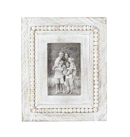 White Washed Beaded Large Rectangle Frame