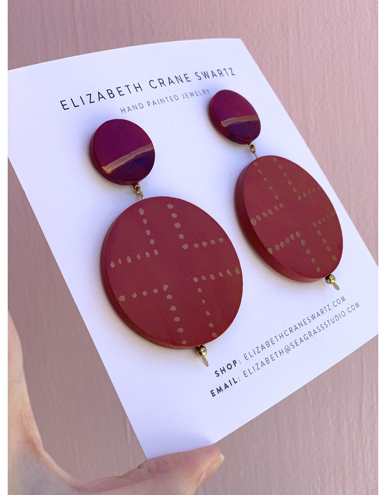 Elizabeth Crane Swartz Burnt Orange Cross Drop Earring by Elizabeth Crane Swartz