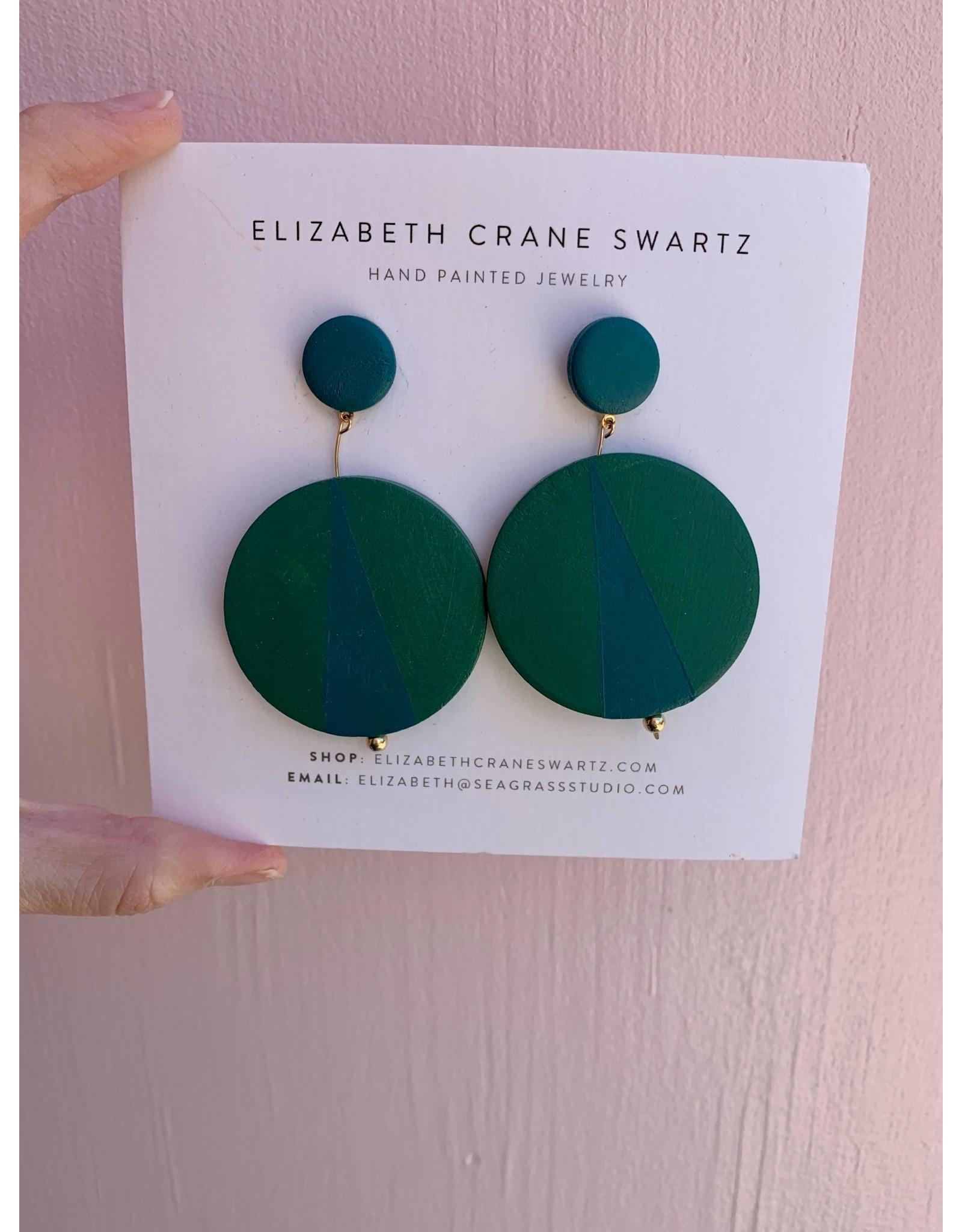 Elizabeth Crane Swartz Green and Teal Drop Earring by Elizabeth Crane Swartz