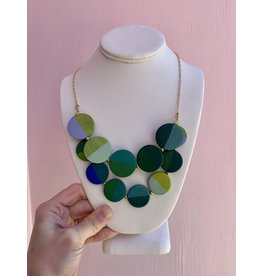 Elizabeth Crane Swartz Libby Bib Blue and Green Necklace by Elizabeth Crane Swartz