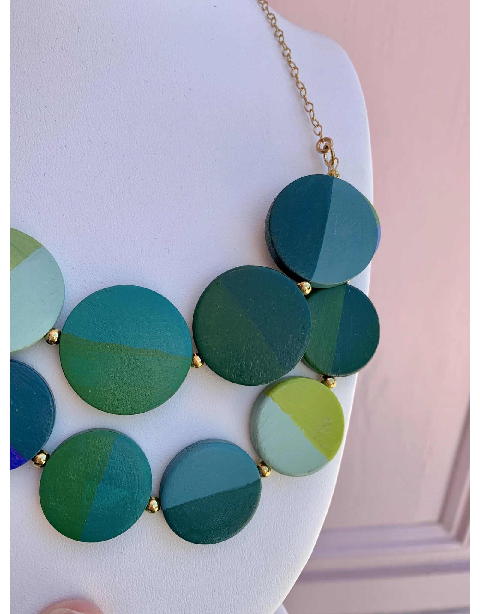 Elizabeth Crane Swartz Libby Bib Blue and Green Necklace by Elizabeth Crane Swartz