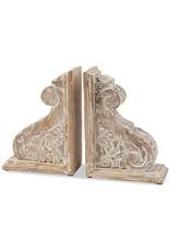 Carved Scroll Corbel Book End Set