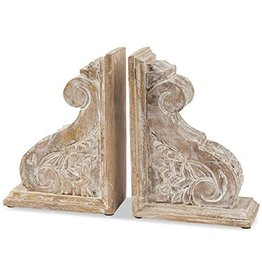 Carved Scroll Corbel Book End Set