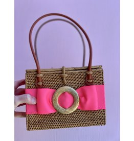 Lisi Lerch Emory Purse in Hot Pink with Gold Round Buckle by Lisi Lerch