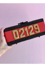 Lisi Lerch Colette Clutch in Black with Red Ribbon featuring 02129 by Lisi Lerch