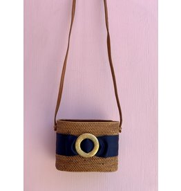Lisi Lerch Charlotte Crossbody in Navy with Gold Circle Buckle by Lisi Lerch