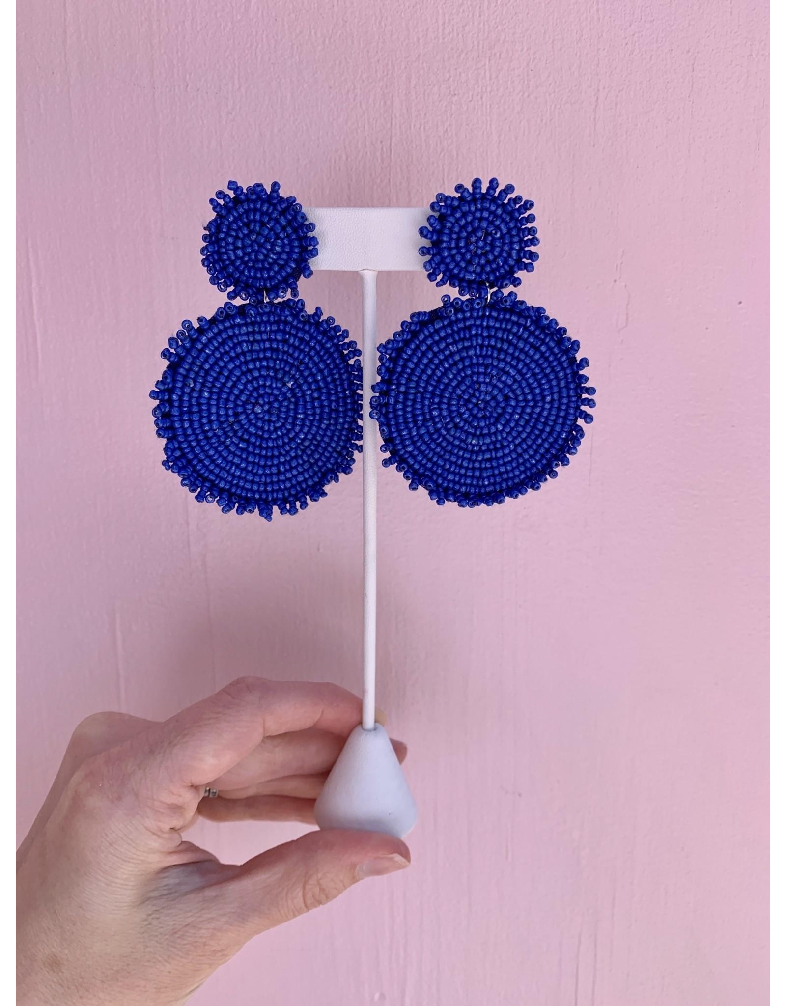 Bright Blue Seed Bead Drop Earring