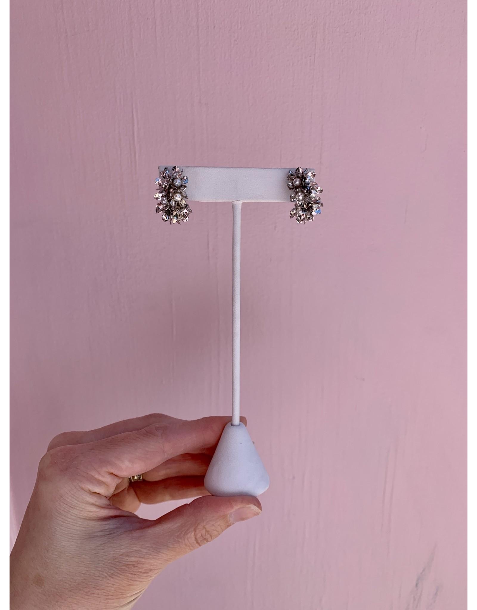 Silver and Pearl Mini Hoop