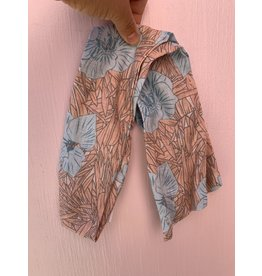 Cotton Wired Headscarf in Peach and Blue Floral with Leaves