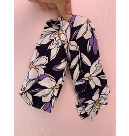 Cotton Wired Headscarf in Navy Floral