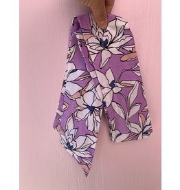 Cotton Wired Headscarf in Light Purple Floral
