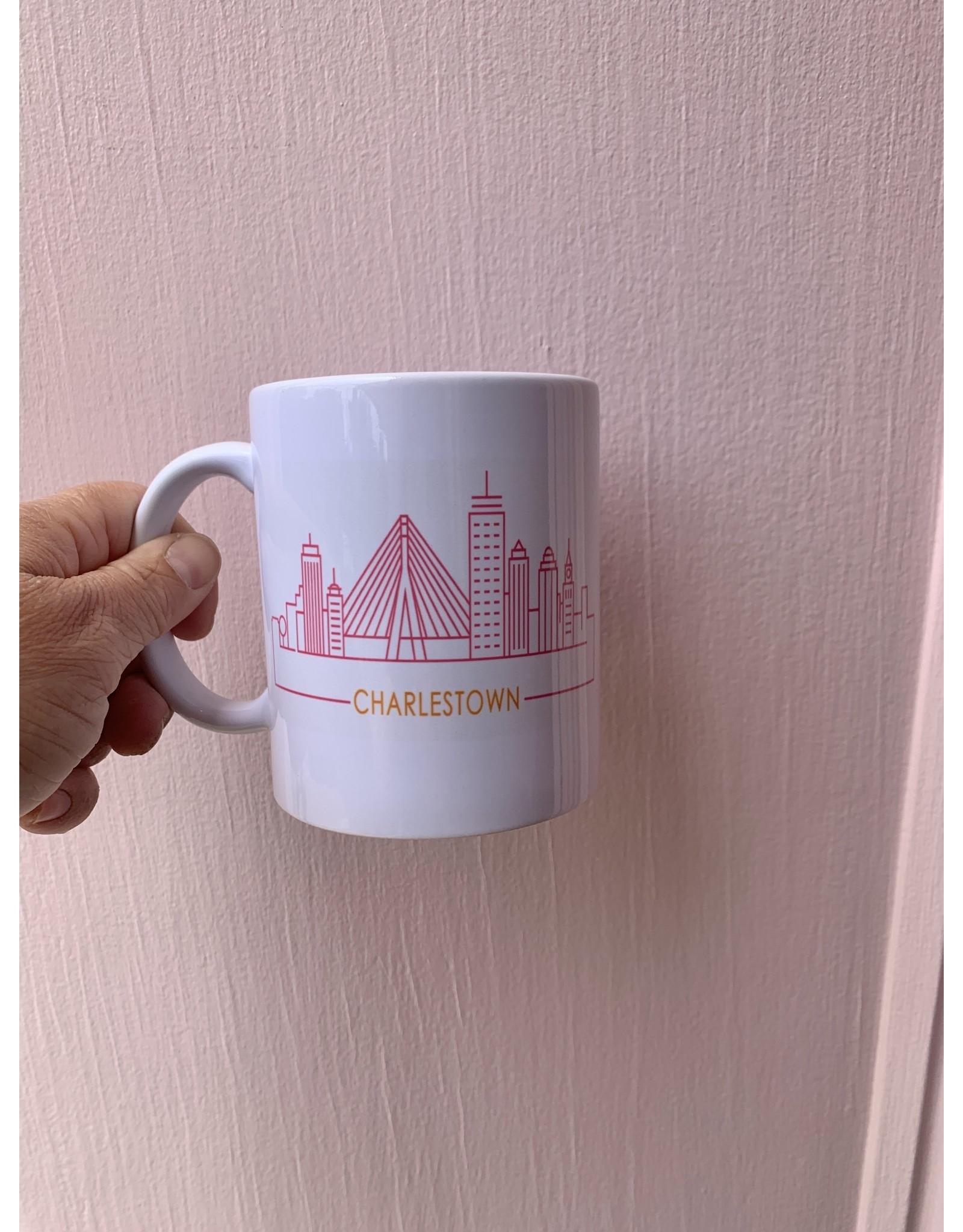 RoseanneBECK Collection Charlestown Skyline Mug in Pink and Orange