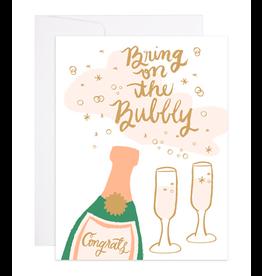 9th Letterpress Champagne Bubbles Card