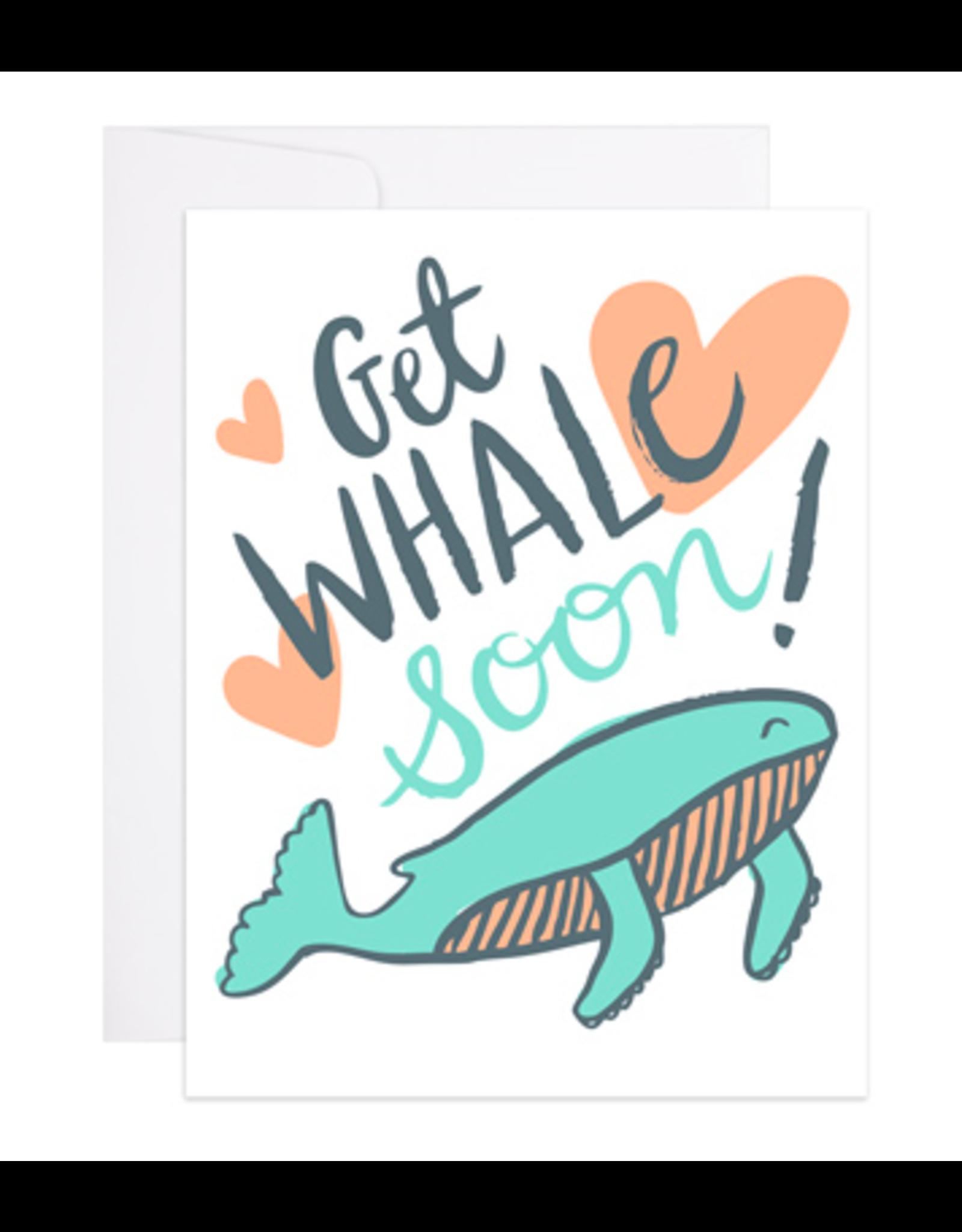 9th Letterpress Get Whale Soon Card