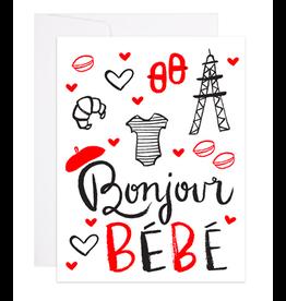 9th Letterpress Bonjour Bebe French Card