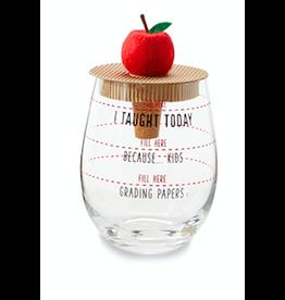 Apple Teacher Wine Glass/Topper Set