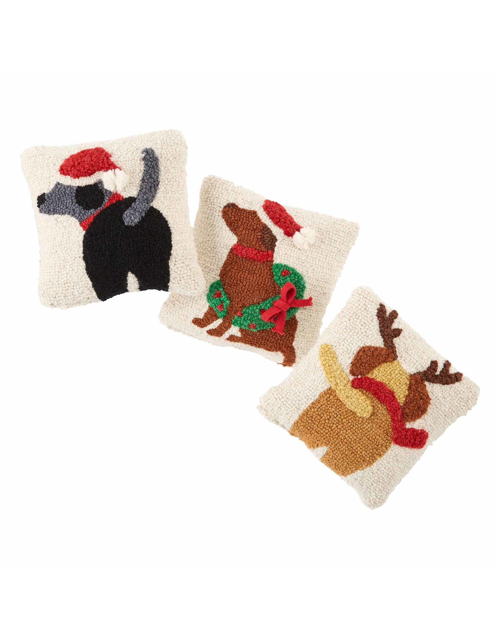 Santa Hat Black Dog Mini Hook Pillow