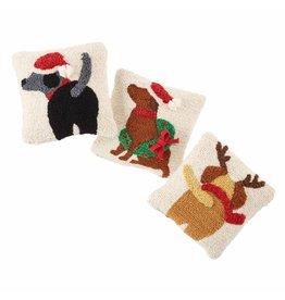 Santa Hat Black Dog Mini Hook Pillow