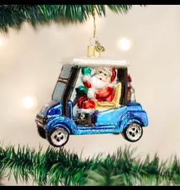 Golf Cart Santa Ornament