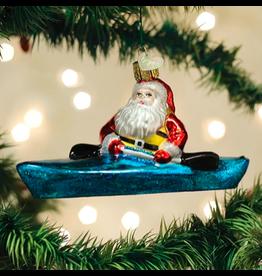 Santa in Kayak Ornament