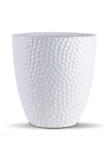 "White Dimpled Ceramic Pot 7"" x 7"""
