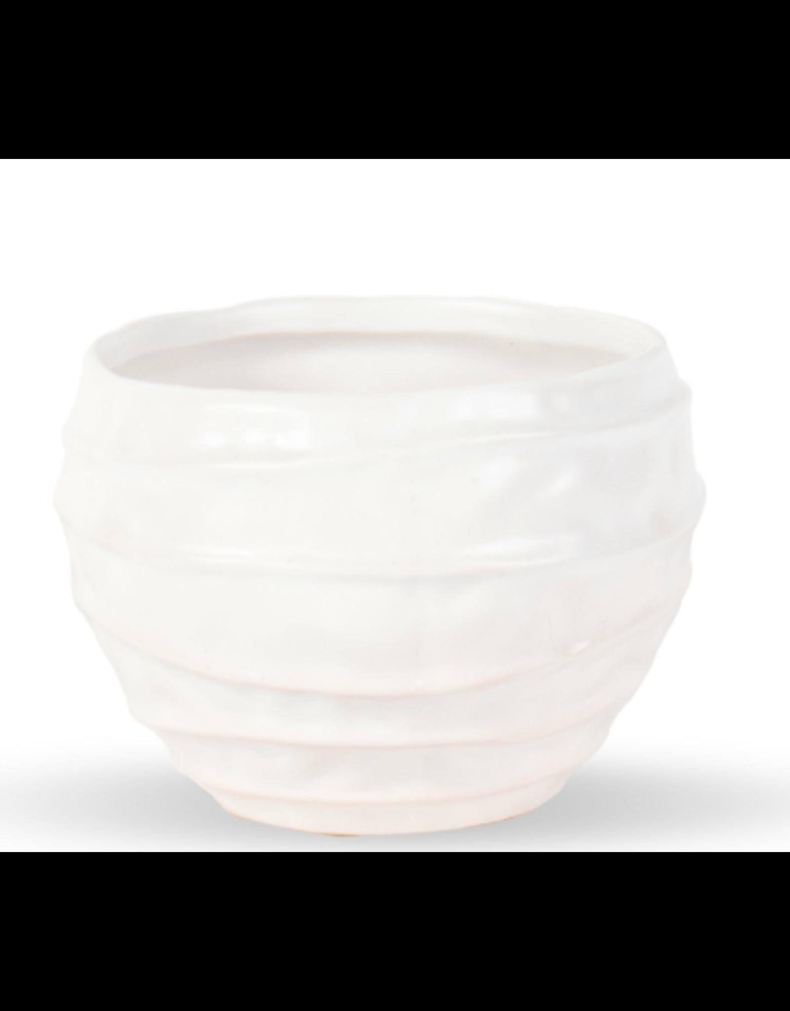 """Wavy White Ceramic Vase 4"""" x 5"""""""
